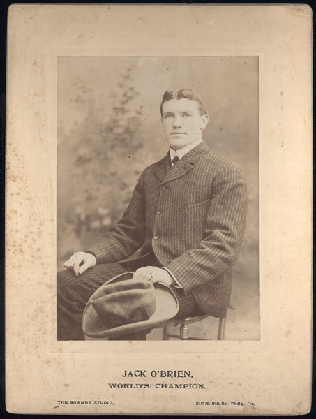 O'BRIEN, PHILADELPHIA JACK MOUNTED ANTIQUE PHOTO (AS CHAMPION)