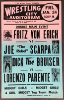 VON ERICH, FRITZ-JOE SCARPA & DICK THE BRUISER-LORENZO PARENTE ON SITE POSTER (1964)