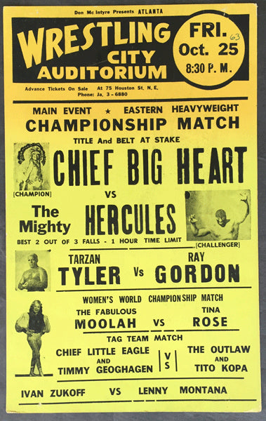 CHIEF BIG HEART-MIGHTY HERCULES ON SITE WRESTLING POSTER (1963)