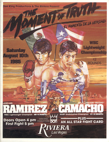 "CAMACHO, HECTOR ""MACHO""-JOSE LUIS RAMIREZ OFFICIAL PROGRAM (1985-CAMACHO WINS LIGHTWEIGHT TITLE)"