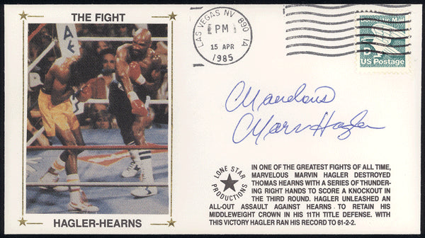 HAGLER, MARVELOUS MARVIN SIGNED 1ST DAY ENVELOPE (1985-HEARNS FIGHT)