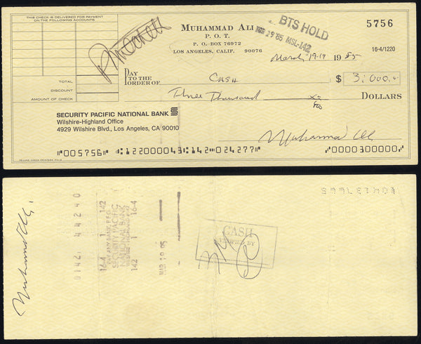ALI, MUHAMMAD SIGNED CHECK (SIGNED TWICE BY ALI-JSA)