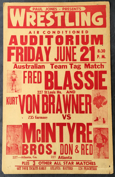 BLASSIE, FRED & KURT VON BRAUNER VS. MCINTYRE BROTHERS ON SITE WRESTLING POSTER (1957)