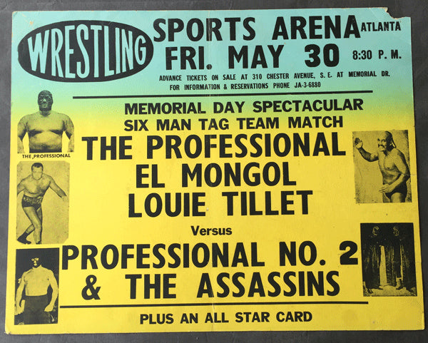 THE ASSASSINS & PROFESSIONAL NO.2 VS THE PROFESSIONAL, EL MONGOL & LOUIE TILLET ON SITE  POSTER
