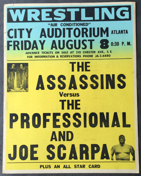 THE ASSASSINS VS. THE PROFESSIONAL & JOE SCARPA WRESTLING ON SITE POSTER (1969)
