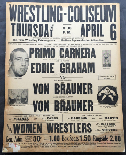 CARNERA, PRIMO & EDDIE GRAHAM VS. VON BRAUNER BROTHERS ON SITE POSTER (1961)