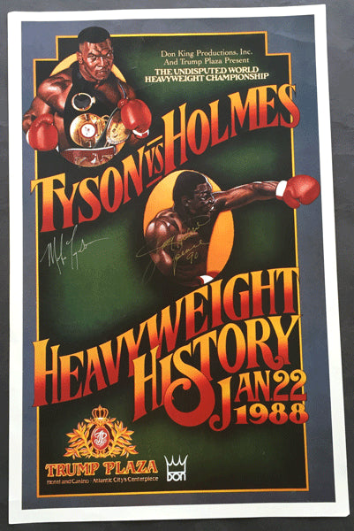 TYSON, MIKE-LARRY HOLMES SIGNED SOUVENIR POSTER (1988-SIGNED BY BOTH)