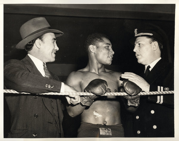 JACK, BEAU & JOHNNY DUNDEE & BENNY LEONARD WIRE PHOTO (1942)