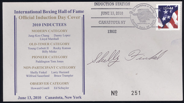 FINKEL, SHELLY SIGNED BOXING HALL OF FAME FIRST DAY COVER