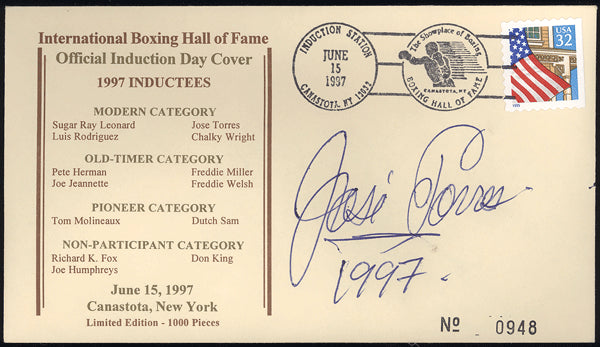 TORRES, JOSE SIGNED BOXING HALL OF FAME FIRST DAY COVER