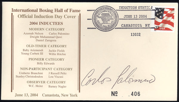 PALOMINO, CARLOS SIGNED BOXING HALL OF FAME FIRST DAY COVER