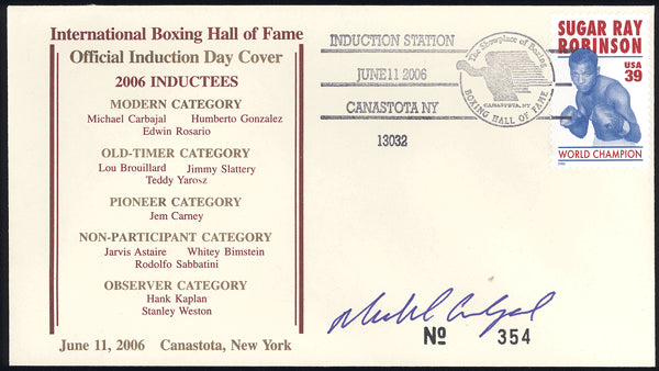 CARBAJAL, MICHAEL SIGNED BOXING HALL OF FAME FIRST DAY COVER