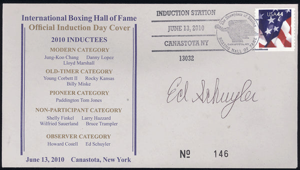SCHUYLER, ED SIGNED BOXING HALL OF FAME FIRST DAY COVER