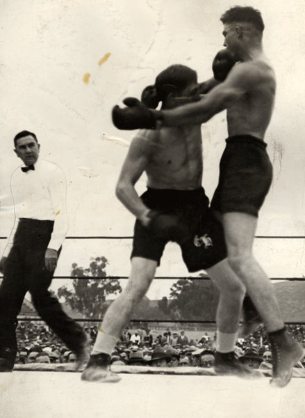 DEMPSEY, JACK EXHIBITION FIGHT WIRE PHOTO (1925)