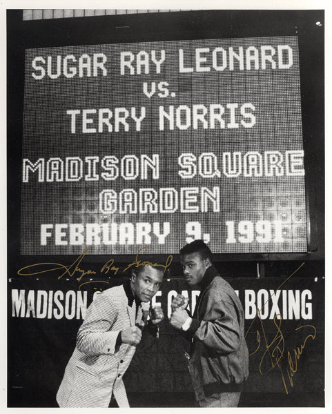 LEONARD, SUGAR RAY & TERRY NORRIS SIGNED PHOTO