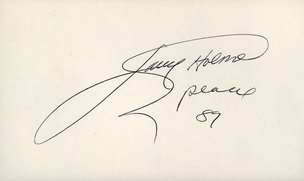HOLMES, LARRY SIGNED INDEX CARD (JSA)
