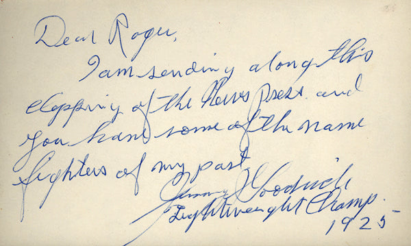 GOODRICH, JIMMY SIGNED INDEX CARD