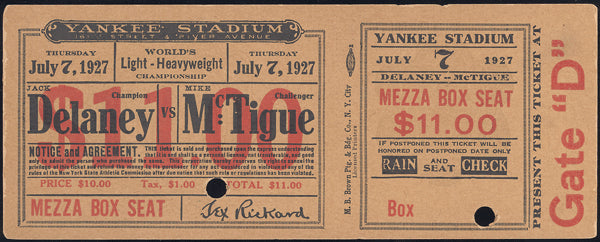 DELANEY, JACK-MIKE MCTIGUE FULL TICKET (1927)