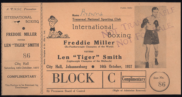 "MILLER, FREDDIE-LEN ""TIGER"" SMITH FULL TICKET (1937)"