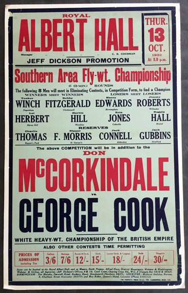 MCCORKINDALE, DON-GEORGE COOK ON SITE POSTER (1932-WHITE HEAVYWEIGHT CHAMPIONSHIP)