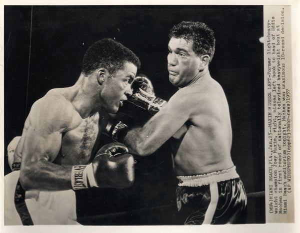 MACHEN, EDDIE-JOEY MAXIM WIRE PHOTO (1957-1ST ROUND)