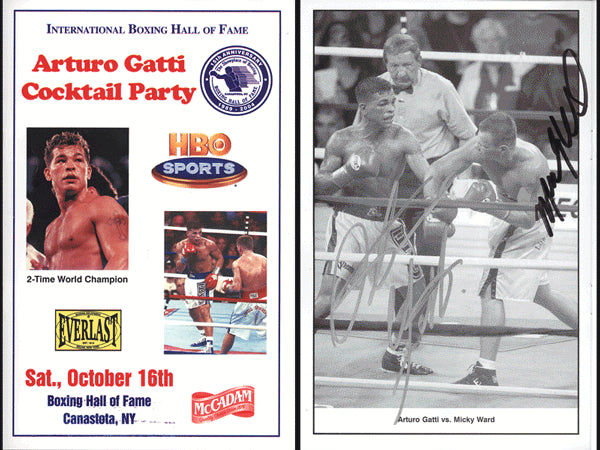 GATTI, ARTURO & MICKY WARD SIGNED HALL OF FAME COCKTAIL PROGRAM (2004-SIGNED BY BOTH)