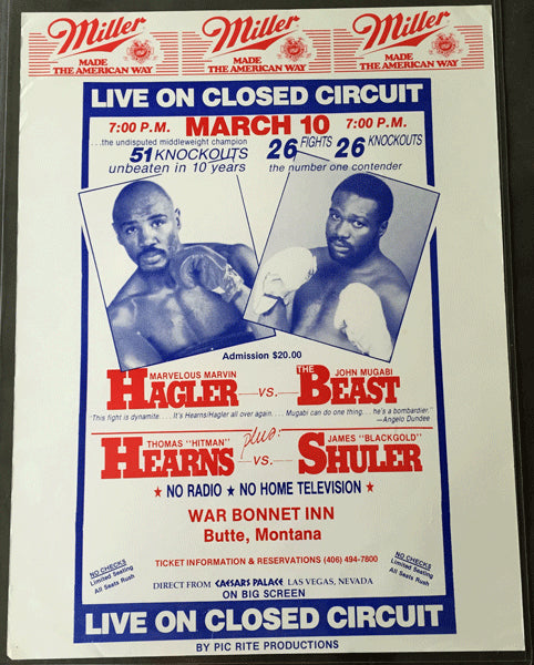 HAGLER, MARVIN-JOHN MUGABI & TOMMY HEARNS-JAMES SHULER CLOSED CIRCUIT POSTER (1986)