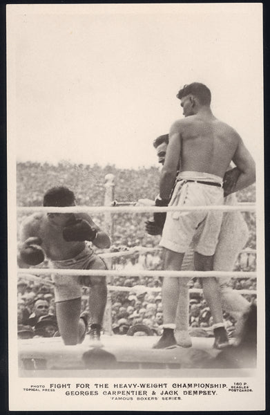 DEMPSEY, JACK-GEORGES CARPENTIER REAL PHOTO POSTCARD (1921-IN ACTION)
