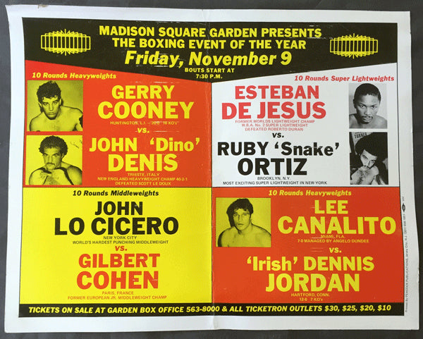 "COONEY, GERRY-JOHN ""DINO"" DENIS & ESTEBAN DEJESUS-RUBY ORTIZ ON SITE POSTER (1979)"