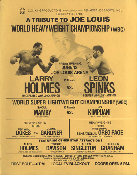 HOLMES, LARRY-LEON SPINKS ON SITE BROADSIDE (1981)