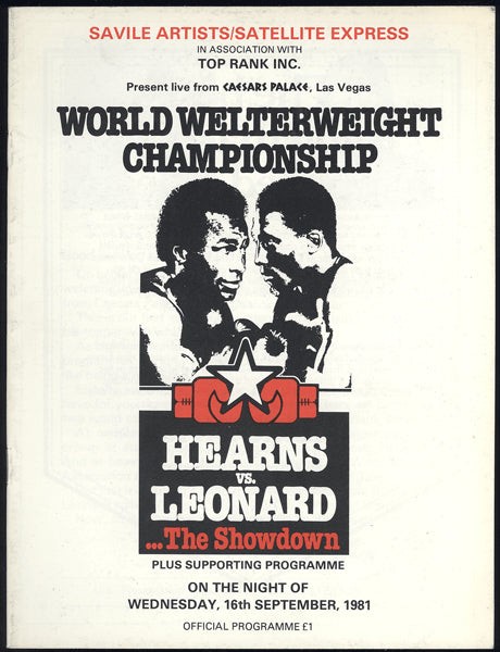 LEONARD, SUGAR RAY-THOMAS HEARNS I BRITISH CLOSED CIRCUIT PROGRAM (1981)