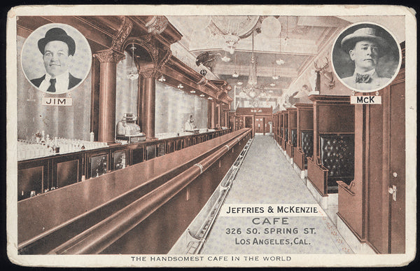 JEFFRIES, JIM CAFE POSTCARD (CIRCA 1907)