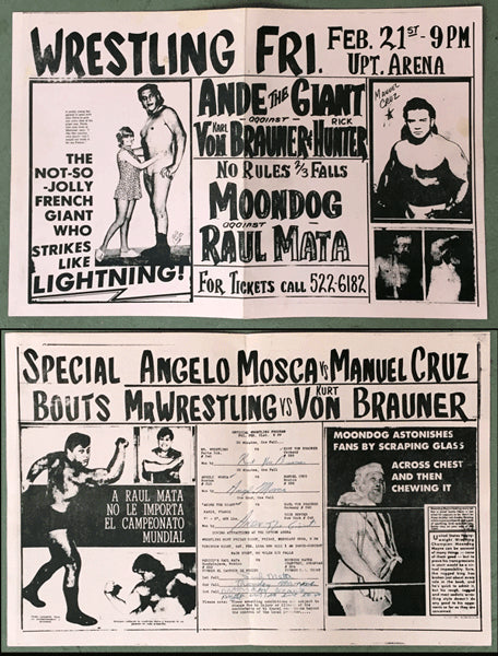 ANDRE THE GIANT VS KARL VON BRAUNER & RICK HUNTER WRESTLING POSTER-PROGRAM (1975)