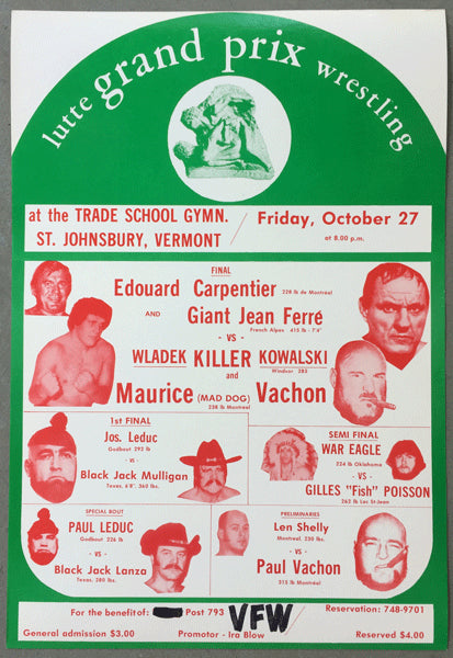 ANDRE THE GIANT & EDOUARD CARPENTIER VS KILLER KOWALSKI & MAURICE VACHON ON SITE POSTER (1972)