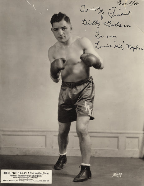 "KAPLAN, LOUIS ""KID"" SIGNED PHOTO (TO MANAGER BILLY GIBSON)"