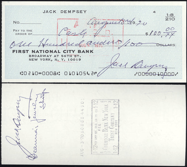 DEMPSEY, JACK DOUBLE SIGNED CHECK