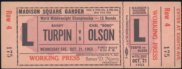 "OLSON, CARL ""BOBO""-RANDY TURPIN FULL TICKET (1953)"
