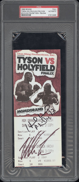 TYSON, MIKE-EVANDER HOLYFIELD I SIGNED FULL TICKET (SIGNED BY BOTH-PSA/DNA)