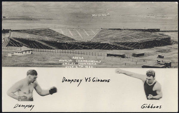 DEMPSEY, JACK-TOMMY GIBBONS REALL PHOTO POSTCARD (1923)