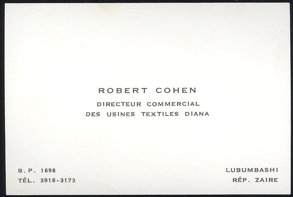 COHEN, ROBERT BUSINESS CARD