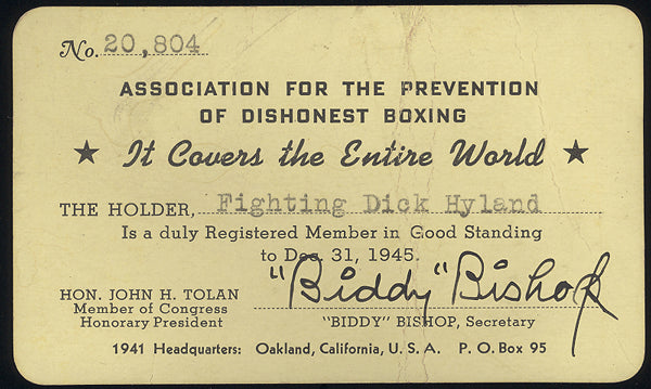 "HYLAND, ""FIGHTING"" DICK BUSINESS CARD"