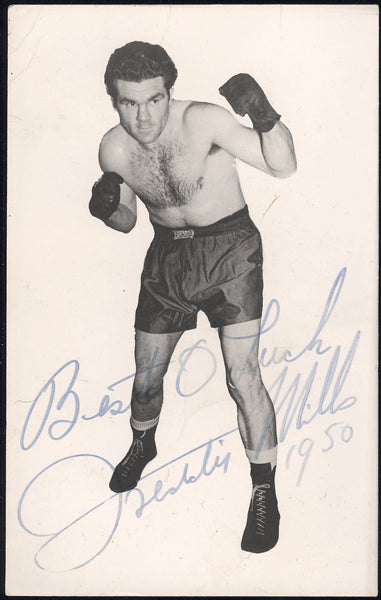 MILLS, FREDDIE SIGNED PHOTO POSTCARD (1950)