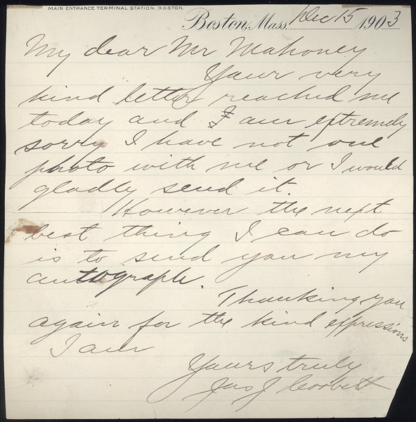 CORBETT, JAMES J. SIGNED HAND WRITTEN LETTER (1903)