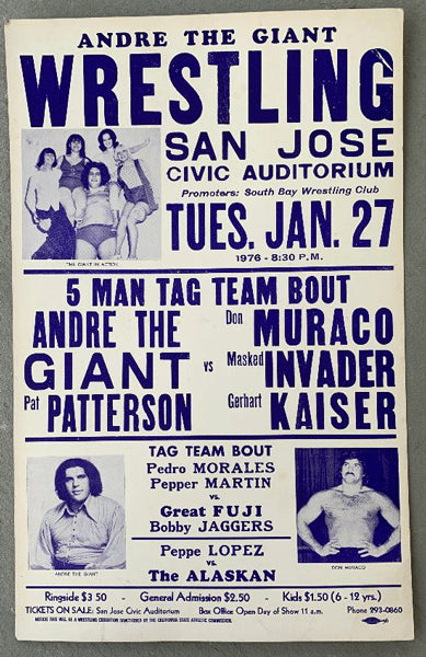 ANDRE THE GIANT & PAT PATTERSON-DON MURACO & MASKED INVADER & GERHART KAISER ON SITE POSTER (1976)