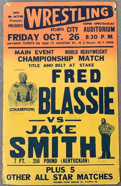 BLASSIE, FRED-JAKE SMITH ON SITE POSTER (1962)