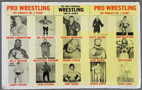 PRO WRESTLING WORLD'S NO. 1 SPORT POSTER (1970'S)