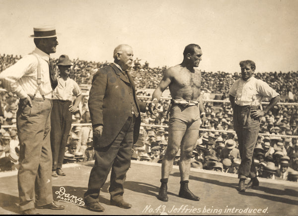 JEFFRIES, JAMES ORIGINAL ANTIQUE PHOTO (1910-BEING ANNOUNCED AT JOHNSON FIGHT)