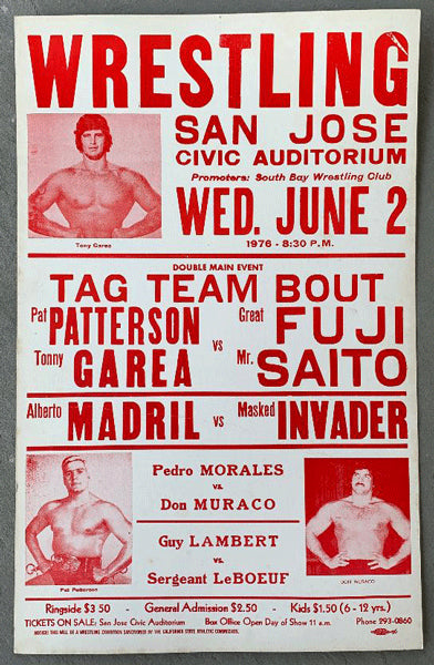 PATTERSON, PAT & TONY GAREA VS> GREAT FUJI & MR> SAITO WRESTLING ON SITE POSTER (1976)