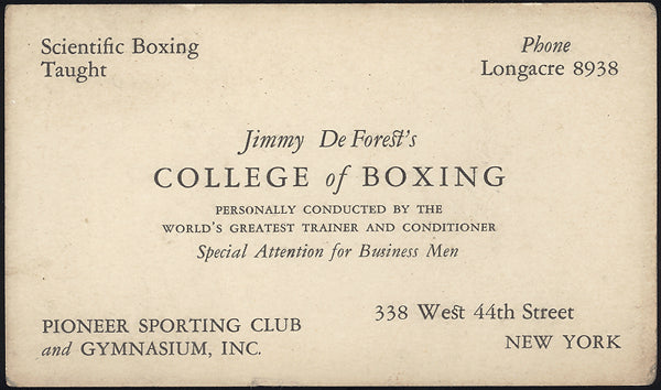 DEFOREST, JIMMY BUSINESS CARD