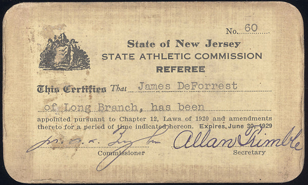 DEFOREST, JIMMY NEW JERSEY REFEREE LICENSE (1929)